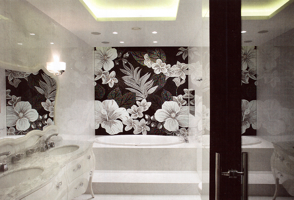 Черная мозаика в ванной дизайн