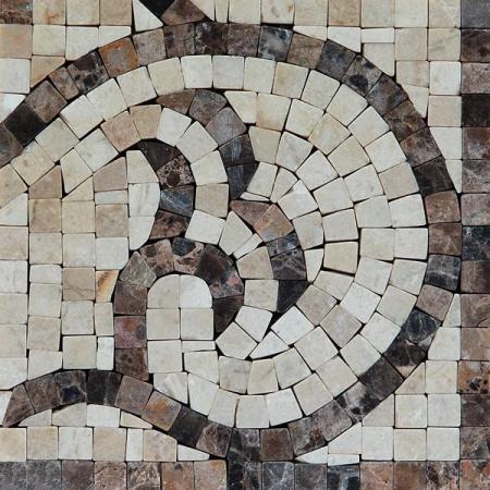 Угол из мраморной мозаики K06.NB082A-Corner